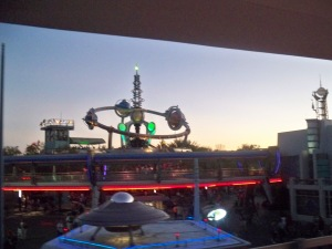 A blurry shot of the PeopleMover, from the PeopleMover.