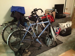 Our commuter bikes get the prominent position next to the front door. Eventually they won't be piled with junk!