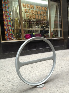 A bike rack in front of one of my favorite fabric shops - how perfect!
