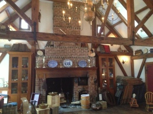 What appeared to be the music room in the general store, complete with harp stain glass windows.
