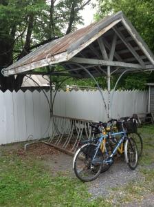 Fancy yet kinda useless bike rack out front.