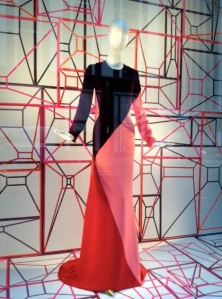 Colorblocked gown in the Bergdorf window.