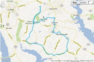 "The route for the Hughesville ""Hidden Amish"" TNT ride."