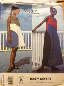 Vogue 1563 Issey Miyake colorblock dress in two lengths.