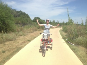 "My ""Evita"" impression on a trike, thanks to the stability of those three wheels."