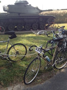 Bikes and a tank at the VFW, location of the pie pit stop. There was also a live band!