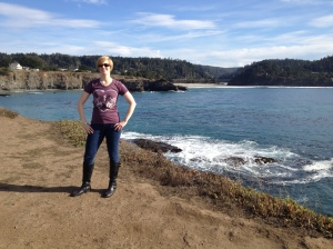 Wearing my Practical Cycle tee shirt in Mendocino