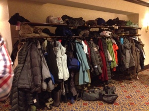 Conference + snowstorm = overwhelmed coat rack!