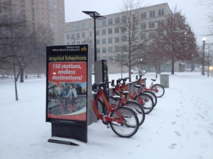 I opted to take Metro to the forum, rather than bike, but the snow made me feel less lame...