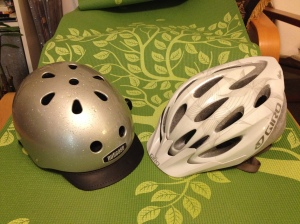 Nutcase vs. Giro - which to take? (Guess I could have dried the rain off my Nutcase helmet first...)