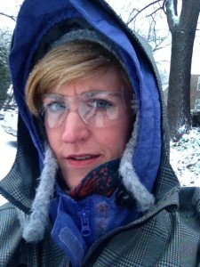 Prepared for another massive snowstorm, complete in biking goggles ($4 safety goggles from Home Depot!) and my Cleverhood to top it all off.