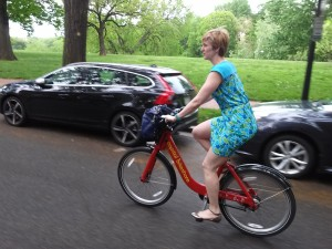 Me wearing Lauren's dress (on a Capital Bikeshare bike, of course)!
