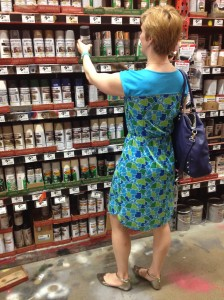Picking out chalkboard paint at Home Depot for a little wedding DIY, and looking quite normal.