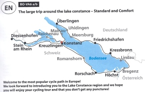 Our route - starting clockwise at the red dot in Konstanz, heading west to Stein am Rhein, then up to Ueberlingen, then to Meersburg, Friedrichshafen, Lindau, Bregenz, Rorschach, ROmanshorn, and returning to Konstanz. 250km in all.