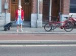 I don't think she was biking, but I still love the photo