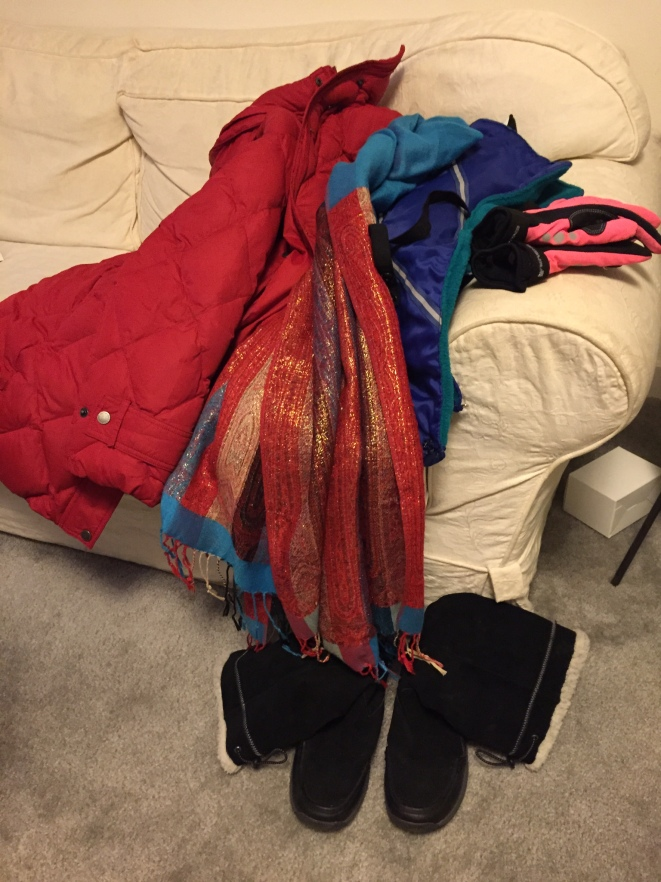 "Last year's winter gear - red down coat, scarf, the ""chaps"" I made, pink winter bike gloves, black Land's End boots"