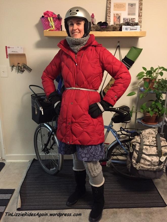 Bundled up and reflective! Legwarmers, skirt, Vespertine belt and scarf.