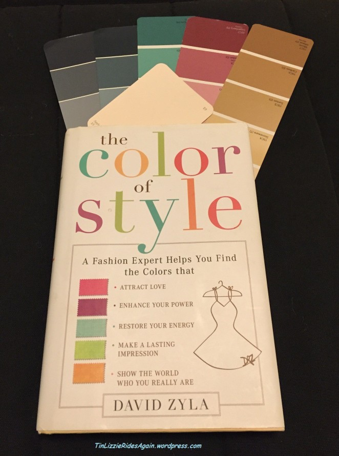My copy of Color Your Style, along with color chips I picked based on the book's advice