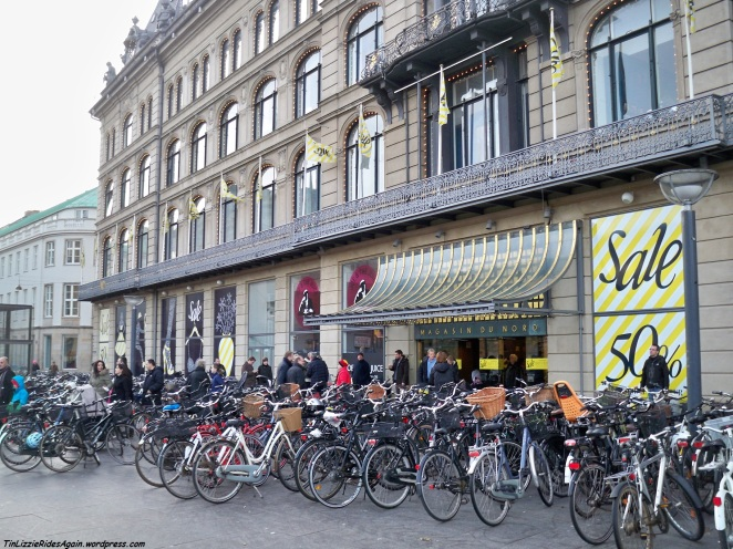 I'm willing to bet that all these bikes in front of Copenhagen's Magasin du Nord are there just for the 50% off sale!