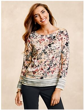 Talbots Stripe and Floral Blouse