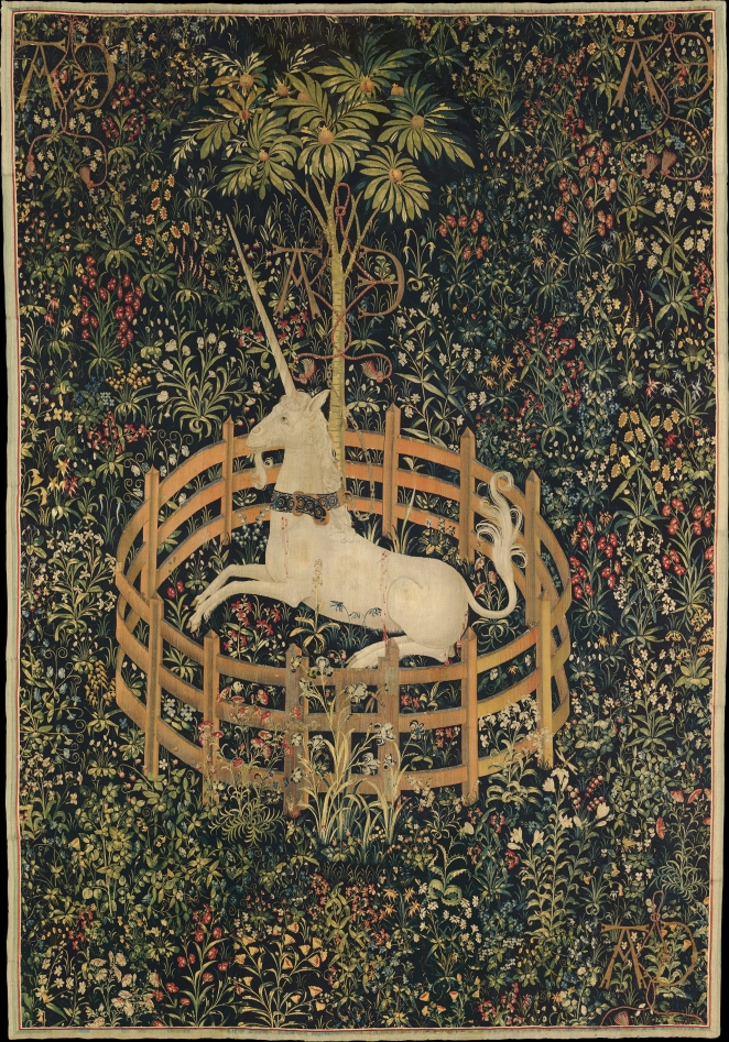 """The Unicorn in Captivity - Google Art Project"" by Unknown - 6QHwPO4q4grNtA at Google Cultural Institute, zoom level maximum. Licensed under Public Domain via Wikimedia Commons - http://commons.wikimedia.org/wiki/File:The_Unicorn_in_Captivity_-_Google_Art_Project.jpg#mediaviewer/File:The_Unicorn_in_Captivity_-_Google_Art_Project.jpg"