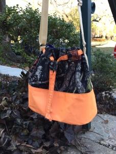Finished bucket bag - yes the orange is reflective!