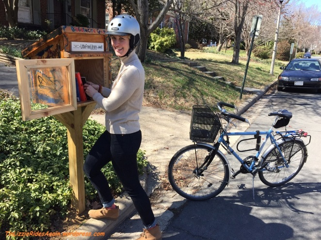 Checking out a Little Free Library in my Levi's Commuter Jeans