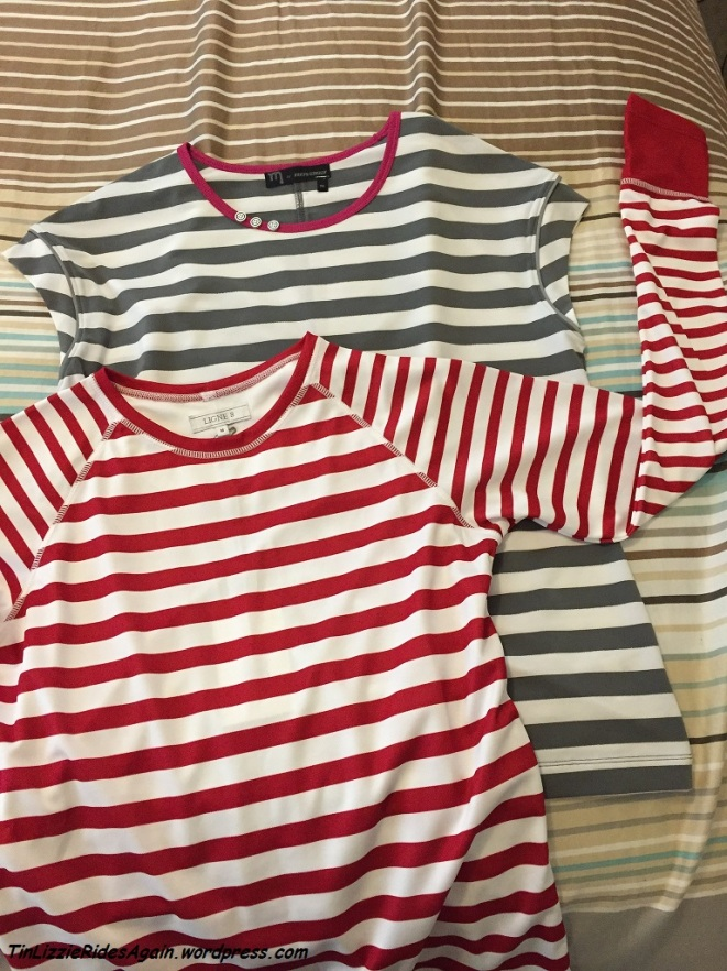 Striped shirts on our striped duvet cover - yes, I like stripes!