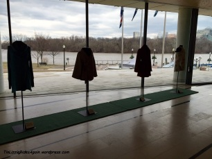 Inside the Embassy was an interesting set of clothes, all apparently fully sustainably made. Lousy picture, but you get a nice view of the Potomac!
