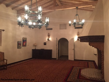 Greta Garbo's entertainment room - check out the medieval fireplace!