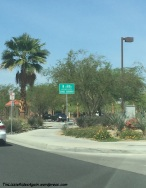 Pedestrians and bikes are supposed to share the sidewalk, although we saw neither in this tony town of La Quinta