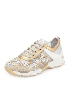 Rene Caovilla metallic floral sneakers, Neiman Marcus