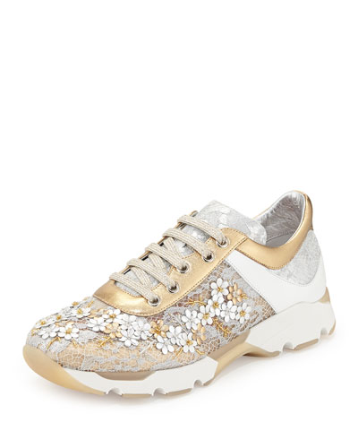 Neiman Marcus Rene Caovilla Metallic Floral Lace Up Sneakers
