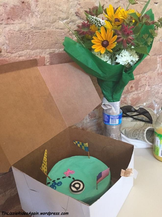 Anniversary Cake and Flowers