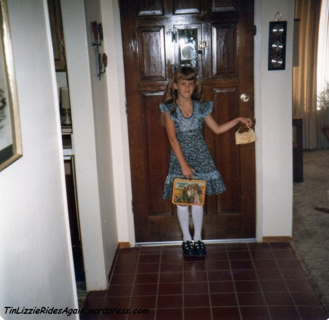 "Second Grade - if you look closely you can see my ""Little House on the Prairie"" lunch box. And keep watching for knee socks. Apparently that was a look I really loved. I didn't crop these because I love the square photo shape, but watch how they eventually change."