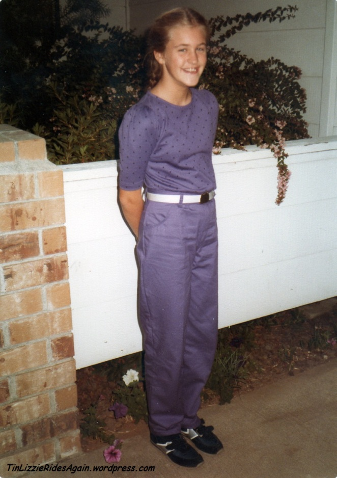 Sixth Grade - look at the sudden style shift! Pants, on the first day of school! And Velcro tennis shoes. My, I was a bean pole then, wasn't I?