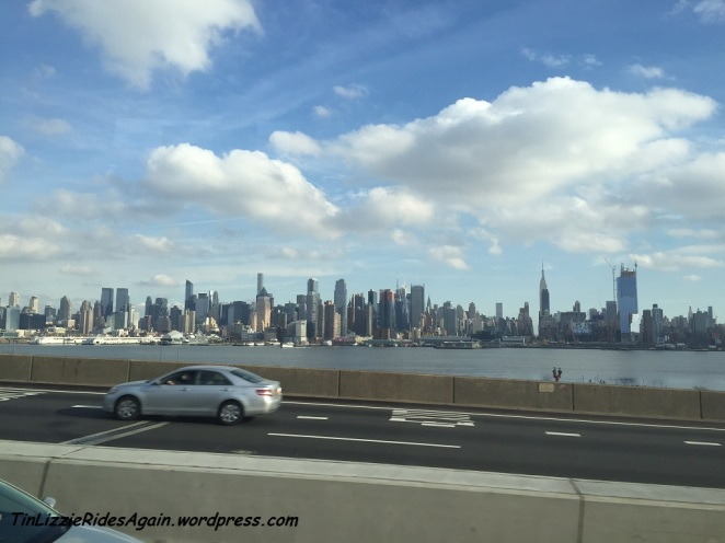 Manhattan as seen from a jitney bus on the New Jersey side