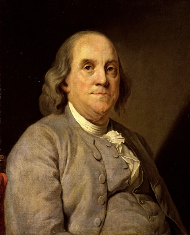 Benjamin Franklin, portrait by Joseph-Siffrein Suplessis, circa 1785. Wikimedia Commons