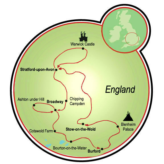 The route for the Shakespeare's Country bike tour (image from TripSite.com)