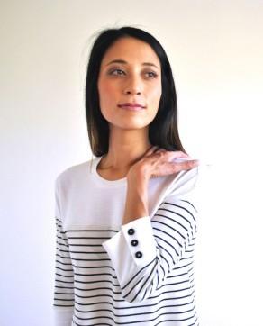 Marianne dress with button 3/4 sleeve cuffs