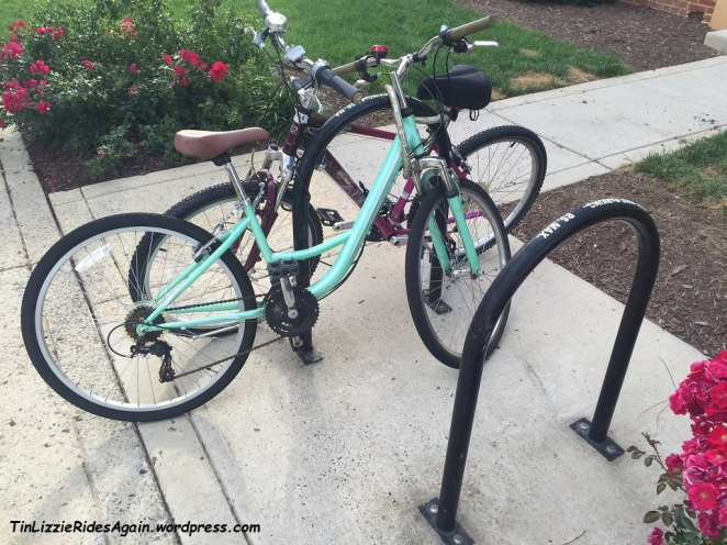 "Surrounding a nearby new and ""nicer"" apartment complex are bike racks labeled ""temporary."" But who can blame the residents from parking their bikes there?!"