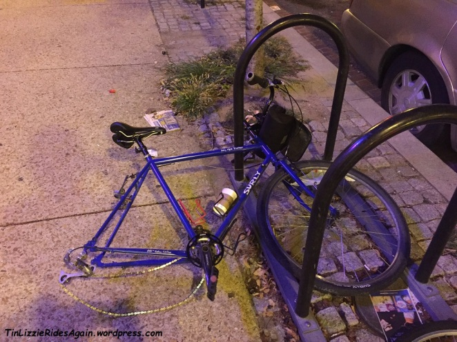 This poor bike is a friend's - we had biked to dinner together in DC...