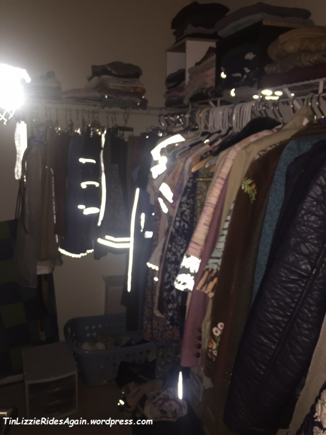How cool is this? All my reflective things reflecting in the walk-in closet. <3 <3 <3