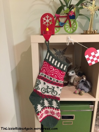 The Mechanic's stocking, knit by my mother