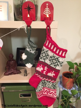 My stocking, knit by my mother. The small one is not Gaston's - it's in the mail.