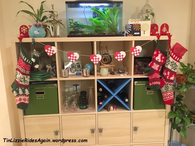 Bicycle for The Mechanic, mini stocking for Edgar, Gaston's, bunnies for me, and Danish hearts in between
