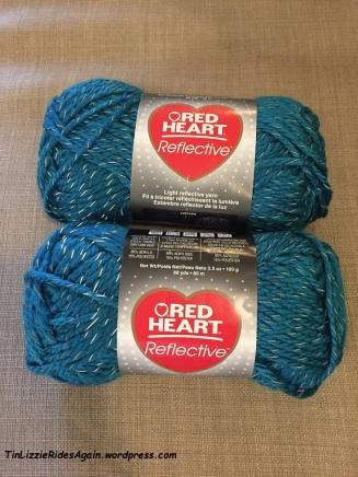 Peacock blue reflective yarn