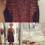 Diane von Furstenberg dress! Tweed! Fab lips sticker!