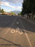 Bike lane in Enterprise, heading towards the Wallowa mountains