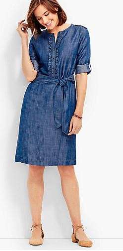 Talbots Ruffle Front Denim Dress